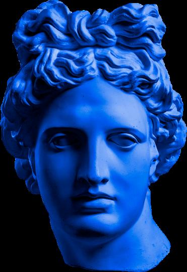 Sculture tête bleue